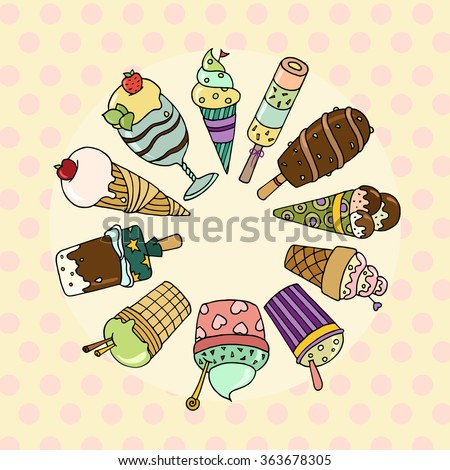 Cute set of tasty cartoon ice cream.  Collection of ice cream with sprinkles and fruits. Elements for your summer desert menu. Doodle file isolated on white and organized in groups for easy editing.  - stock photo