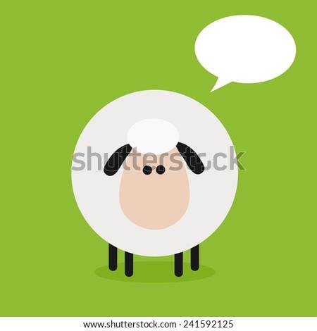 Cute Sheep Modern Flat Design Raster Illustration With Speech Bubble  - stock photo