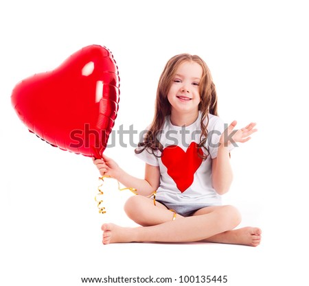 cute six year old girl with a big red heart-shaped balloon, isolated ...