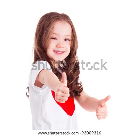 cute six year old girl  with two thumbs up, isolated against white background - stock photo