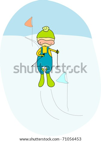 Cute skier. For vector version see image no. 63971899