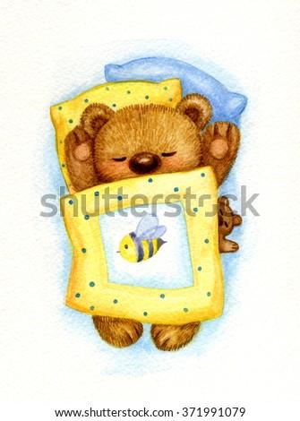 Cute sleeping baby bear in bed, watercolor. - stock photo