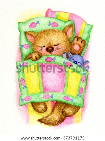 Cute sleeping baby kitten in bed, watercolor. - stock photo