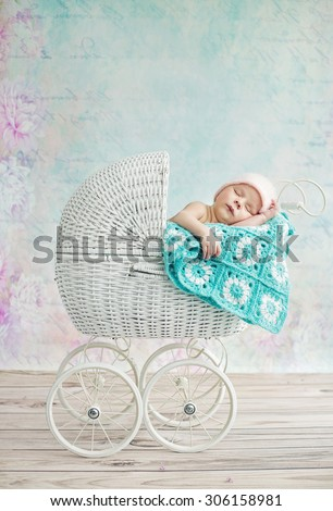 Cute sleeping newborn baby - stock photo