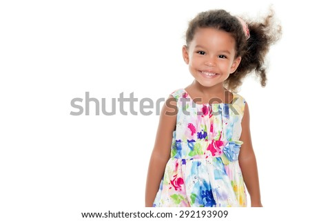 Cute small african-american or hispanic girl wearing a flowers summer dress isolated on white - stock photo