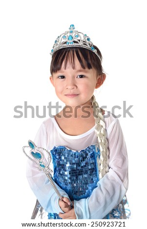 Cute small asian girl in fancy dress over white background. - stock photo