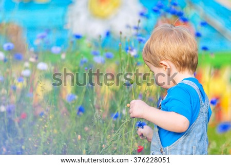 Cute small blond boy at the field of flowers having good time. Childhood at the summertime. - stock photo