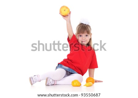 cute small girl with fruits on white