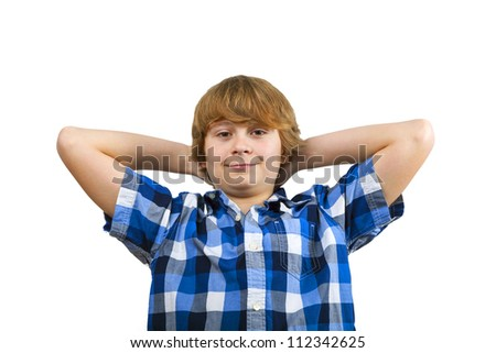 cute smart happy smiling young boy - stock photo