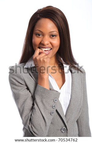 Cute smile from beautiful ethnic business woman - stock photo