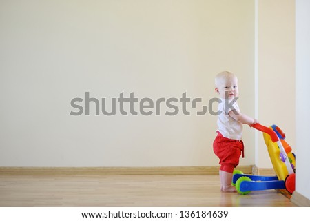 Cute smiling baby girl with toy walker - stock photo