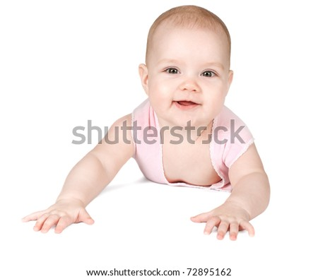 Cute smiling baby on a white background