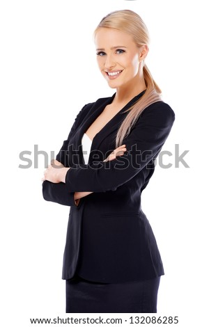 Cute smiling blond business woman on white background - stock photo