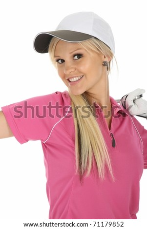 Cute smiling blond woman in golf shirt and white cap - stock photo