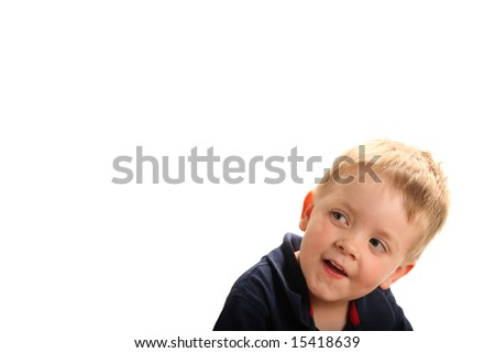 Cute smiling boy with blonde hair and green eyes looking up, isolated on white - stock photo