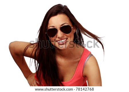 Cute smiling girl with sunglasses - stock photo