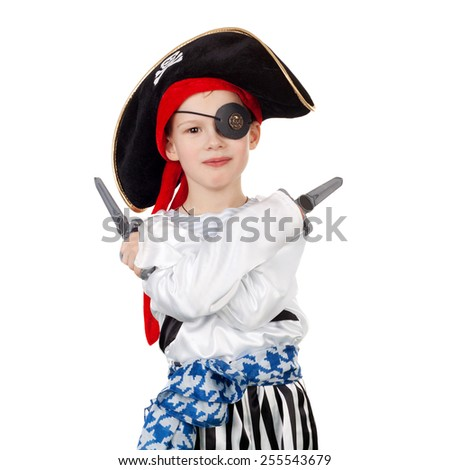 cute smiling little boy in the pirate costume