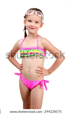 Cute smiling little girl in swimsuit and glasses isolated on a white - stock photo