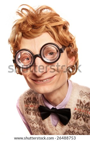 Cute smiling nerd, please check for similar in my portfolio - stock photo
