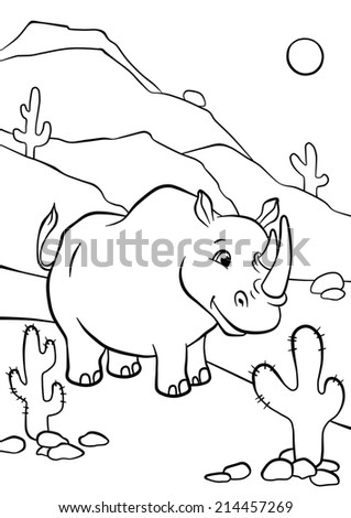 Cute smiling rhino standing and looking forward - stock photo