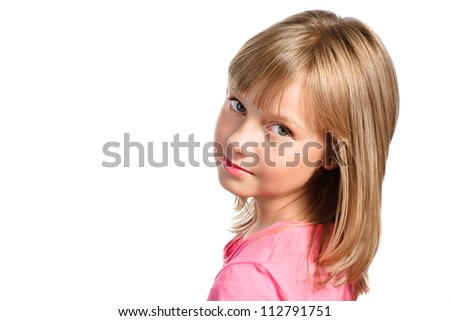 cute smiling stylish girl with nice blond hair isolated over white - stock photo