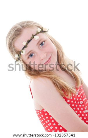 cute smiling summer child girl or kid with blue eyes and long blond hair - stock photo