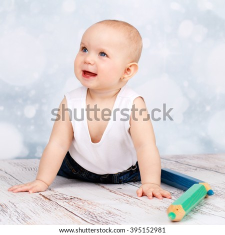 Cute smiling toddler - stock photo