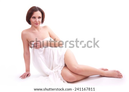 Cute smiling woman on a white background
