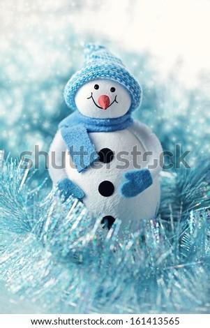Cute snowman Christmas toy.Christmas card. - stock photo