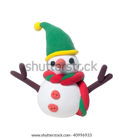 Cute snowman doll made of clay. Masked over white.