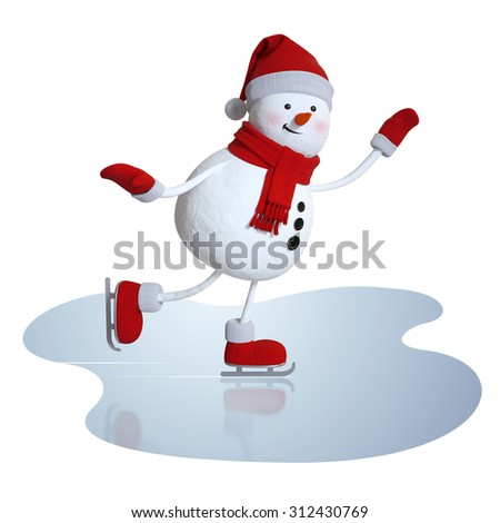 cute snowman figure skating, 3d character, winter outdoor activity illustration, isolated clipart - stock photo