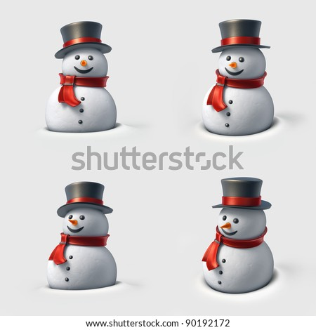 Cute snowman. High resolution 3D illustration with clipping paths. - stock photo