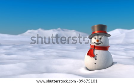 Cute snowman in snowy mountain landscape. High resolution 3D illustration with clipping paths. - stock photo
