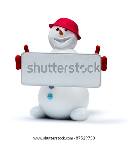 cute snowman with empty frame - stock photo
