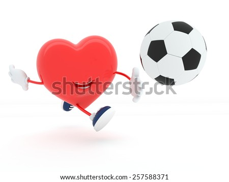 Cute soccer player heart on white - 3D render - stock photo