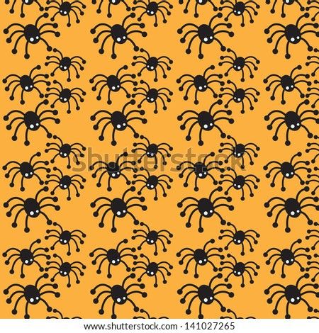 Cute spiders on Halloween orange pattern