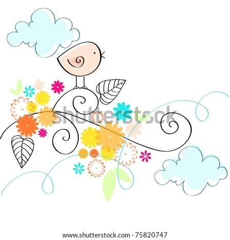Cute spring bird illustration - stock photo