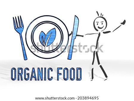 cute stick man presents a organic food symbol white background - stock photo