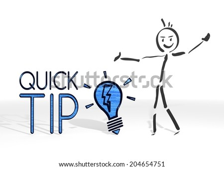 cute stick man presents a quick tip symbol white background - stock photo