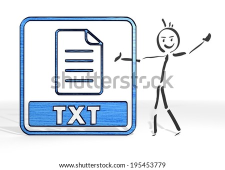 cute stick man presents a txt file symbol white background - stock photo