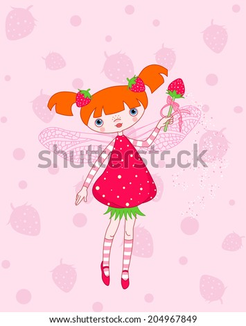 Cute strawberry fairy flying on pink background - stock photo