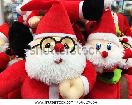 cute stuffed toy santa claus sell in the store christmas present - Stuffed Santa Claus