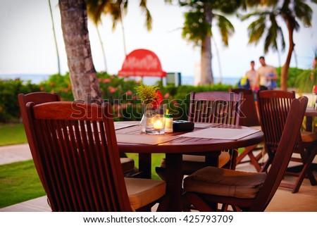 cute summer terrace near the tropical beach - stock photo