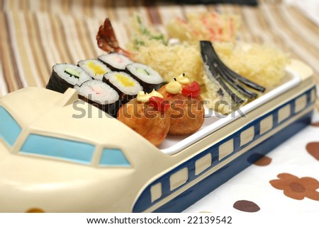cute sushi child's meal with colorful background