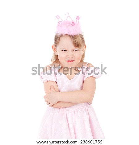 cute sweet emotional little child dressed as a princess - stock photo
