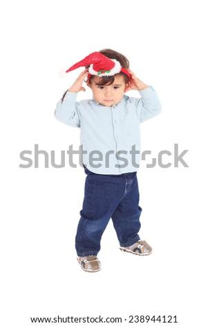 cute sweet little Christmas baby  - stock photo