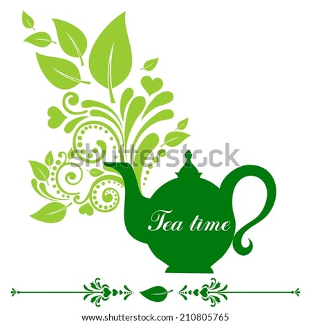 Cute tea time card. Beautiful background with teapot and place for your text. Menu for restaurant, cafe, bar, tea-house.  illustration  - stock photo