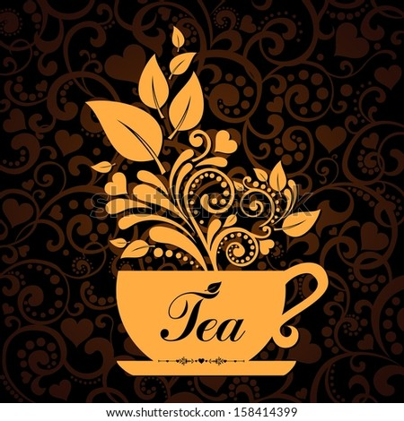 Cute tea time card. Cup with floral design elements. Menu for restaurant, cafe, bar, tea-house.  illustration
