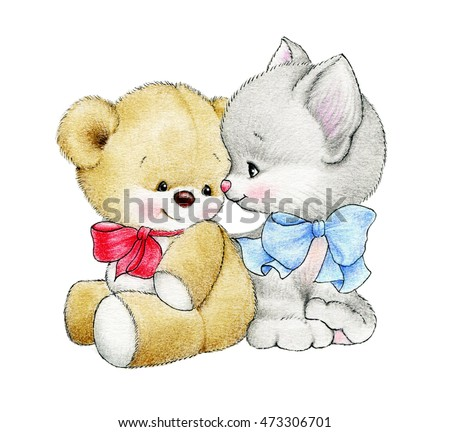 Cute Teddy bear and cat