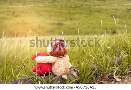 Cute teddy bear and red rabbit doll sitting on the beautiful meadow with abstract light. Concept thinking about love and relationship - stock photo
